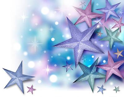 Purple Blue Star Background Poster by Angela Waye