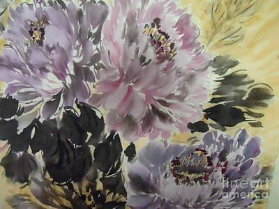 Purple Dark Peony Poster by Dongling Sun