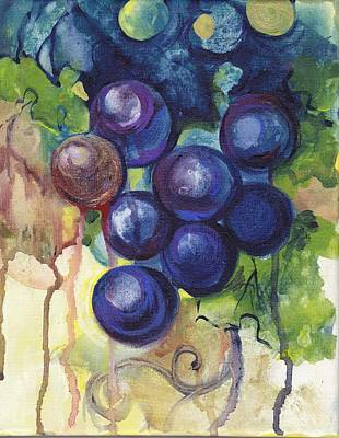 Purple Grapes II  Poster by Peggy Wilson