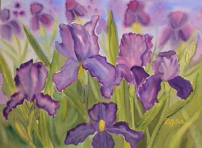 Purple Iris Field Poster by DJ Bates