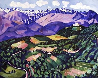 Purple  Mountains  Vence Poster by Pg Reproductions