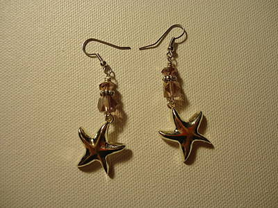 Purple Starfish Earrings Poster