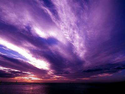 Purple Sunset Poster by Erika Swartzkopf