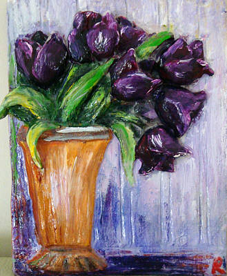Purple Tulips In Vase Poster