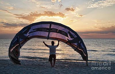 Putting Away The Kite At Clam Pass At Naples Florida Poster