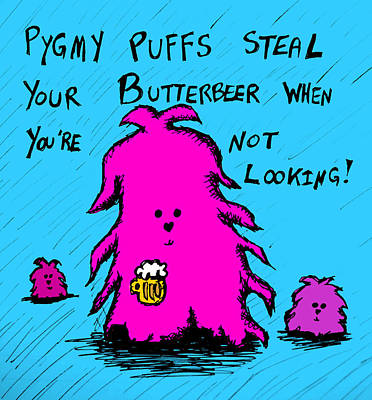 Pygmy Puffs Steal Butterbeer Poster by Jera Sky
