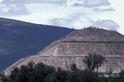 Poster featuring the photograph Pyramid Climbers Teotihuacan Mexico by John  Mitchell