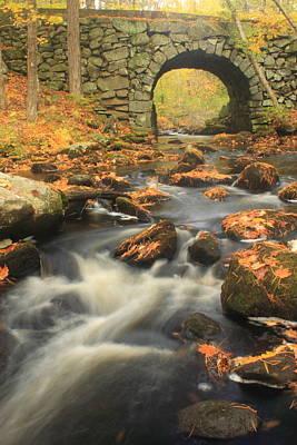 Quabbin Reservoir Keystone Bridge Autumn Poster by John Burk