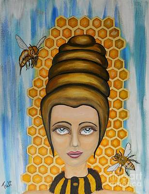 Queen Bee And The Nectar Of The Gods Poster by Claudia Tuli