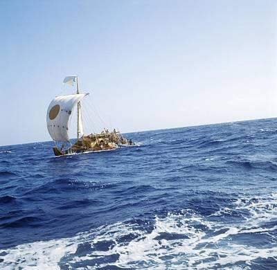 Ra-2 Papyrus Boat In The Atlantic Ocean Poster by Ria Novosti