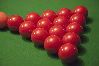 Racked Snooker Balls On A Pool Table Poster