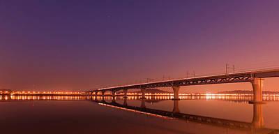 Rail Bridge On Han River Poster by Photo by Paul Morris
