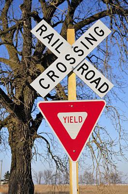 Railroad Crossing, Sycamore, Illinois, Usa, December 2010 Poster