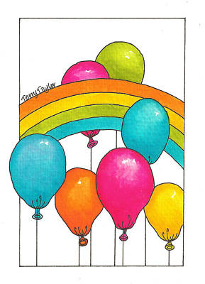 Poster featuring the painting Rainbow Balloons by Terry Taylor