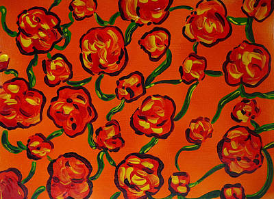Poster featuring the painting Rainbow Flowers Orange by Gioia Albano
