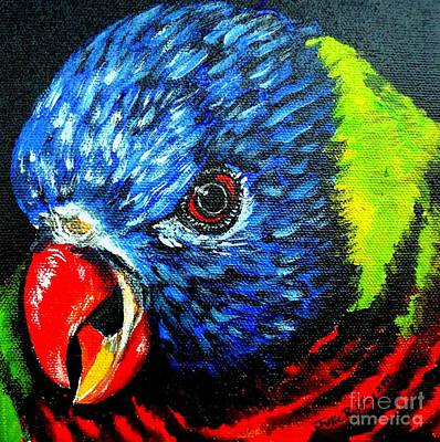 Poster featuring the painting Rainbow Lorikeet Look by Julie Brugh Riffey