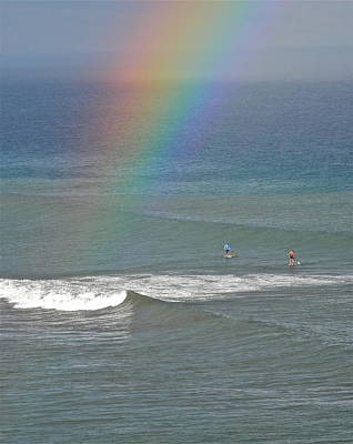 Poster featuring the photograph Rainbow Mists And Surfing Too by Kirsten Giving