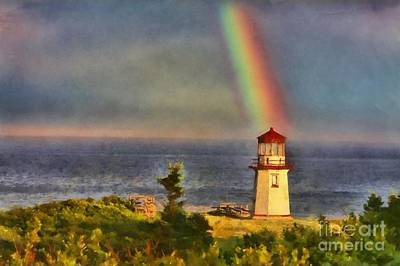 Rainbow Over The Lighthouse In Perce Quebec Poster by Mary Warner