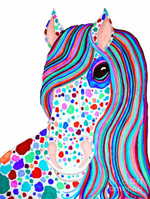 Rainbow Spotted Horse 2 Poster by Nick Gustafson