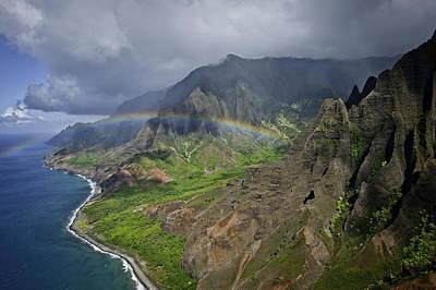 Rainbow To Kalalau Valley Napali Coast State Park Poster by Trish McGinity