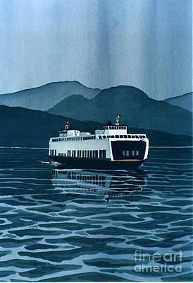 Rainy Ferry Poster by Scott Nelson