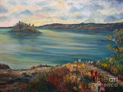 Poster featuring the painting Rainy Lake Michigan by Julie Brugh Riffey