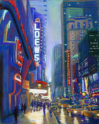 Poster featuring the painting Rainy Reflections In Times Square by Li Newton