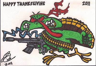 Poster featuring the drawing Rambo Turkey by Jeremiah Colley