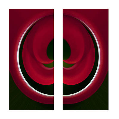 Red And Green Abstract Poster by Pat Exum