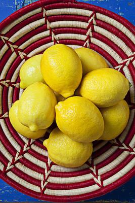 Red And White Basket Full Of Lemons Poster