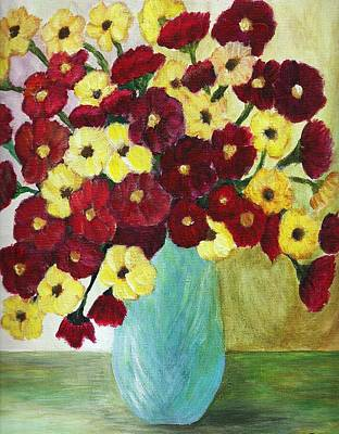 Red And Yellow Bouquet In Blue Poster by Christy Saunders Church