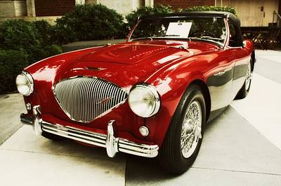 Red Austin Healy Poster by Cathie Tyler