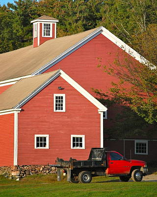Red Barn - Red Truck Poster by Mary McAvoy