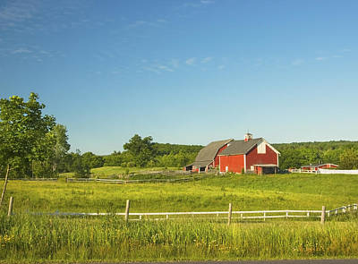 Red Barn And Fence On Farm In Maine Poster