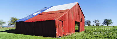 Red Barn In Field With Texas Flag On Roof Poster by Jeremy Woodhouse