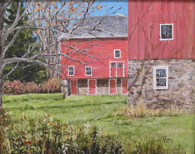 Red Barn With Shadows Poster