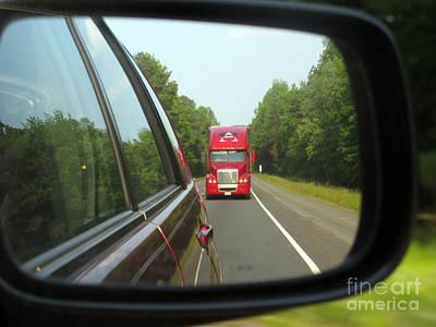 Red Big Truck Behind Poster by Ausra Huntington nee Paulauskaite