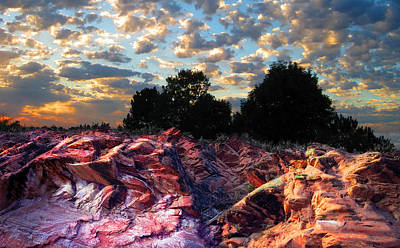 Red Cliff Sunset Poster by Ric Soulen