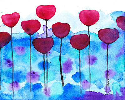 Red Flowers Watercolor Painting Poster by Karen Pappert