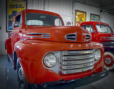 Poster featuring the photograph Red Ford Pickup by Steve Benefiel