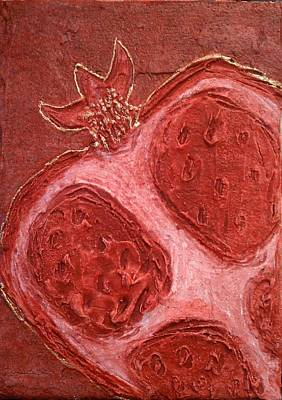 Poster featuring the painting Red Gold Juicy Thick Textured Cut Pomegranate With Seeds by M Zimmerman