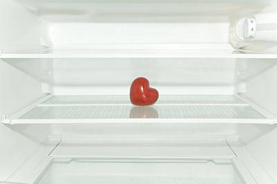 Red Heart In Refrigerator Poster by Stock4b-rf