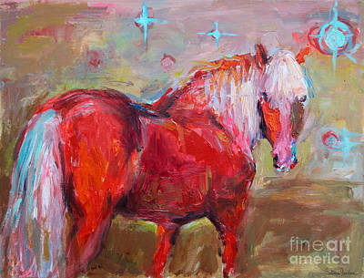 Red Horse Contemporary Painting Poster