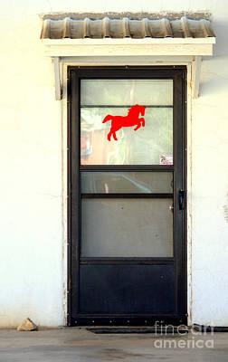 Red Horse Door Poster by Joe Jake Pratt