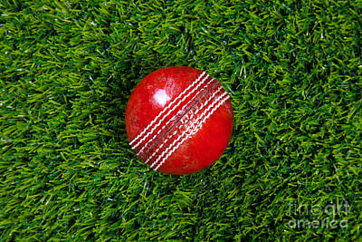 Red Leather Cricket Ball On Grass Poster by Richard Thomas
