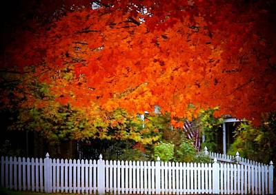 Red Leaves And White Fence Poster by Joyce Kimble Smith