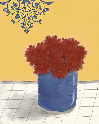 Red Mums In A Blue Pot Poster by Sarah Countiss