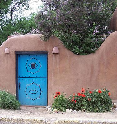 Red Poppies Blue Door Nb Poster by Susan Alvaro