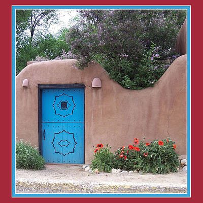 Poster featuring the photograph Red Poppies Blue Door by Susan Alvaro