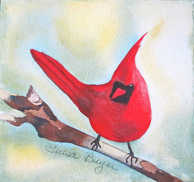 Poster featuring the painting Red Robin by Teresa Beyer